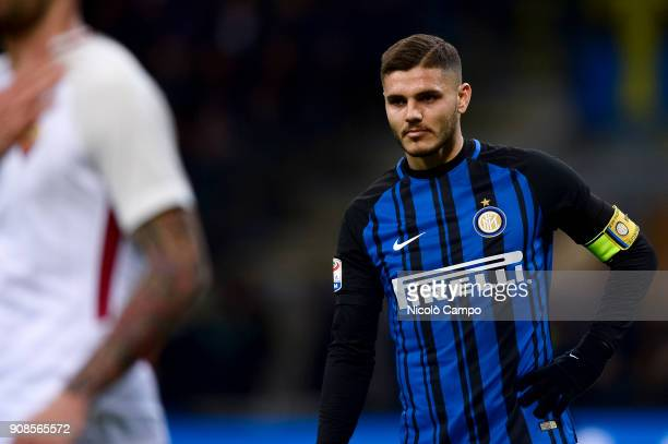 Mauro Icardi of FC Internazionale looks on during the Serie A football match between FC Internazionale and AS Roma The match ended in a 11 tie
