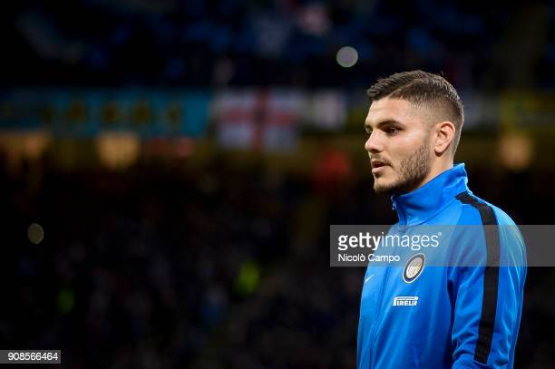 Mauro Icardi of FC Internazionale looks on prior to the Serie A football match between FC Internazionale and AS Roma The match ended in a 11 tie