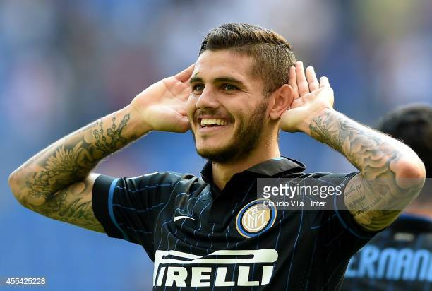Mauro Icardi of FC Internazionale Milano celebrates his second goal during the Serie A match between FC Internazionale Milano and US Sassuolo Calcio...