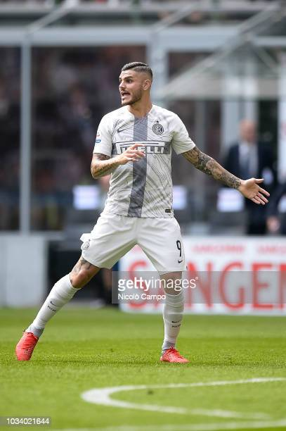 Mauro Icardi of FC Internazionale reacts during the Serie A football match between FC Internazionale and Parma Calcio Parma Calcio won 10 over FC...