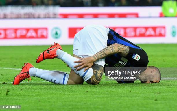 Mauro Icardi of FC Internazionale reacts during the Serie A match between Udinese and FC Internazionale at Stadio Friuli on May 4 2019 in Udine Italy