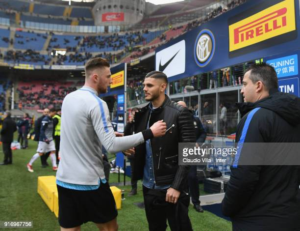 Mauro Icardi of FC Internazionale shakes hands with Milan Skriniar of FC Internazionale before the serie A match between FC Internazionale and...