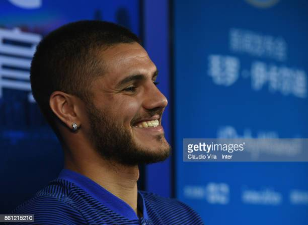 Mauro Icardi of FC Internazionale speaks with a media during the press conference at Suning Training Center at Appiano Gentile on October 14 2017 in...