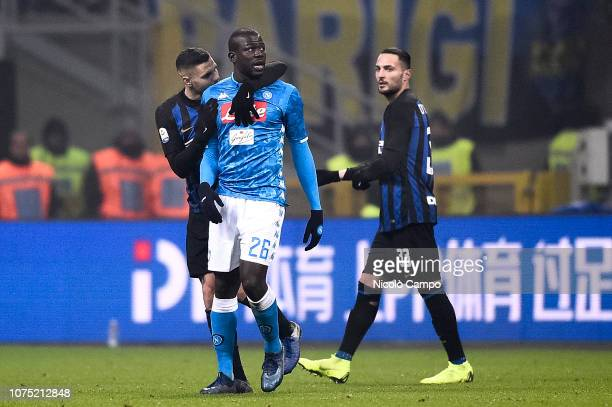 Mauro Icardi of FC Internazionale speaks with Kalidou Koulibaly of SSC Napoli after Kalidou Koulibaly was sent off during the Serie A football match...