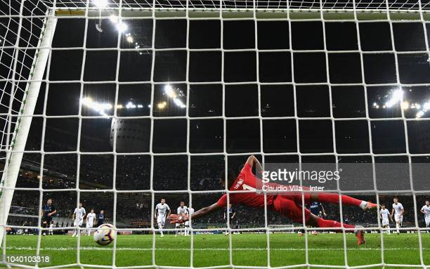 Mauro Icardi of FC Internazionale takes a penalty kick to score the opening goal during the serie A match between FC Internazionale and ACF...