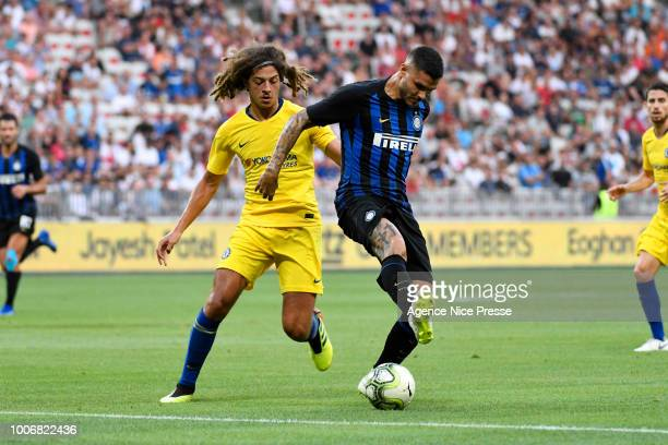 Mauro Icardi of Inter and Ethan Ampadu of Chelsea during the International Champions Cup match between Chelsea and Inter Milan at Allianz Riviera...