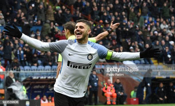 Mauro Icardi of Inter celebrate after his goal 30 during the serie A match between UC Sampdoria and FC Internazionale at Stadio Luigi Ferraris on...