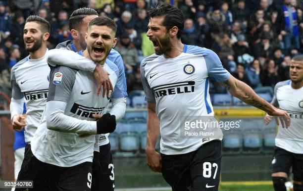 Mauro Icardi of Inter celebrate during the serie A match between UC Sampdoria and FC Internazionale at Stadio Luigi Ferraris on March 18 2018 in...