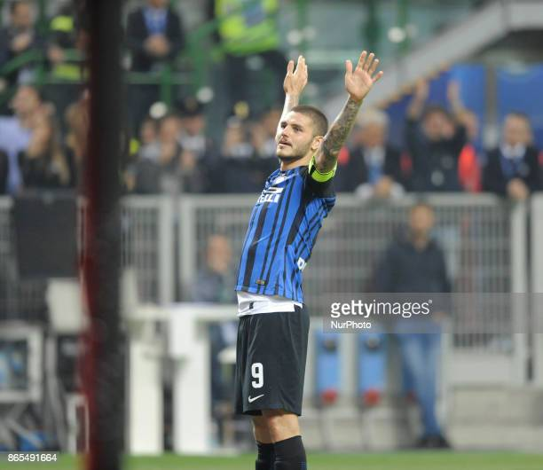 Mauro Icardi of Inter player exults for the goal scored during the match valid for Italian Football Championships Serie A 20172018 between FC...