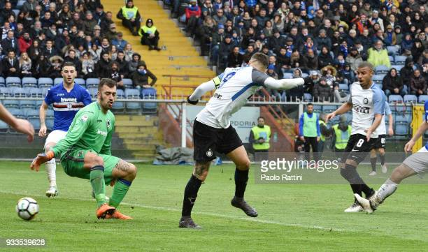 Mauro Icardi of Inter score 30 during the serie A match between UC Sampdoria and FC Internazionale at Stadio Luigi Ferraris on March 18 2018 in Genoa...