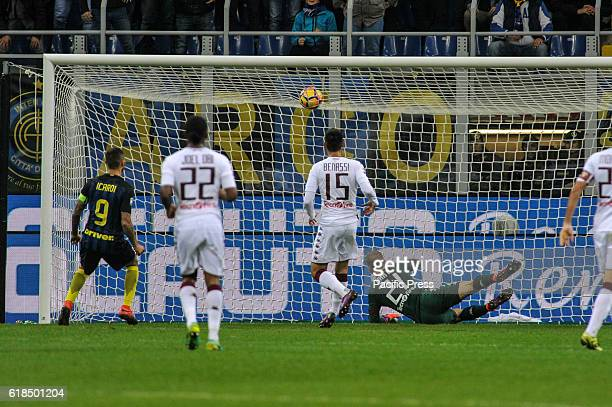 Mauro Icardi of Inter try a goal during Serie A Football FC Inter versus Torino FC Internazionale wins 21 over Torino FC