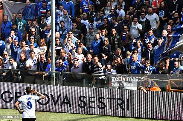 Mauro Icardi of Internazionale celebrates after scoring the opening goal during the Serie A match UC Sampdoria and FC Internazionale Milano at Stadio...