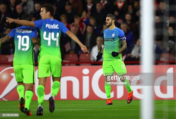 Mauro Icardi of Internazionale celebrates scoring his sides first goal during the UEFA Europa League Group K match between Southampton FC and FC...