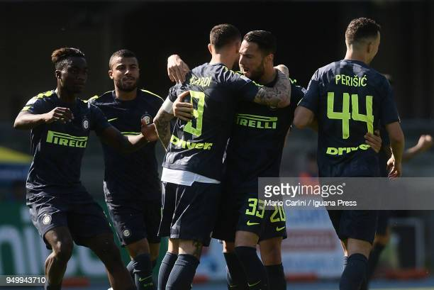 Mauro Icardi of Internazionale FC celebrates after scoring the opening goal during the serie A match between AC Chievo Verona and FC Internazionale...