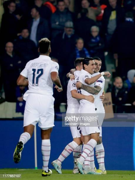 Mauro Icardi of Paris Saint Germain celebrates 01 with Ander Herrera of Paris Saint Germain Angel Di Maria of Paris Saint Germain during the UEFA...