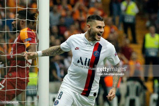 Mauro Icardi of Paris SaintGermain celebrates after scoring his team's first goal during the UEFA Champions League group A match between Galatasaray...