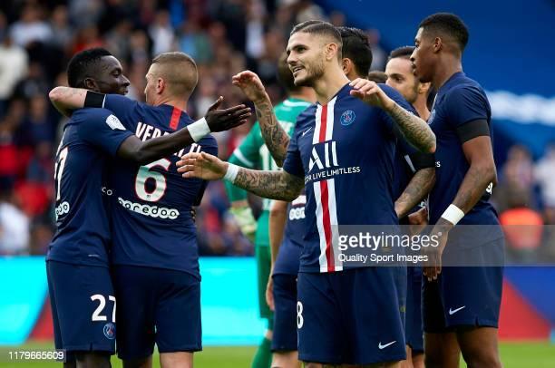 Mauro Icardi of Paris Saint-Germain celebrates after scoring his team's second goal during the Ligue 1 match between Paris Saint-Germain and Angers...