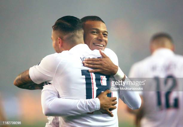 Mauro Icardi of Paris Saint-Germain celebrates after scoring his team's third goal with teammate Kylian Mbappe during the UEFA Champions League group...