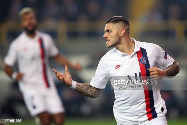 Mauro Icardi of Paris SaintGermain celebrates scoring the 1st goal during the UEFA Champions League group A match between Club Brugge KV and Paris...