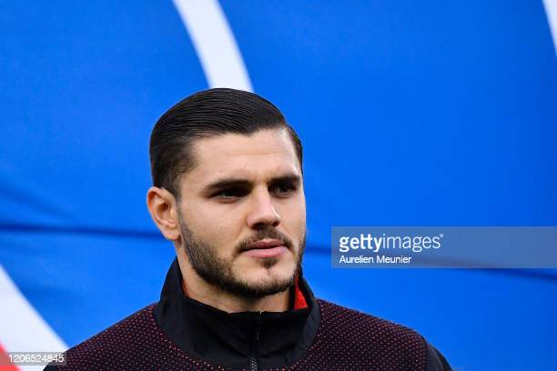 Mauro Icardi of Paris SaintGermain looks on before the Ligue 1 match between Amiens and Paris at Stade de la Licorne on February 15 2020 in Amiens...