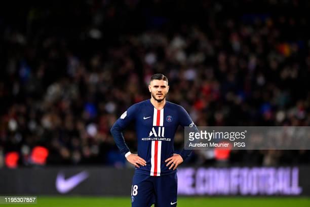Mauro Icardi of Paris Saint-Germain looks on during the Ligue 1 match between Paris Saint-Germain and Amiens SC at Parc des Princes on December 21,...