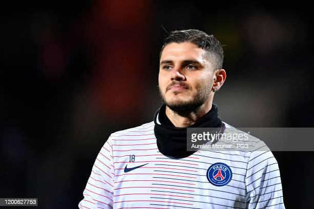 Mauro Icardi of Paris Saint-Germain looks on during warmup before the Coupe de France match between FC Lorient and Paris Saint-Germain at Stade du...