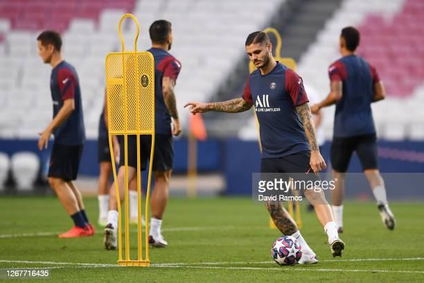 Mauro Icardi of Paris Saint-Germain passes the ball during a training session ahead of their UEFA Champions League Final match against Bayern Munich...