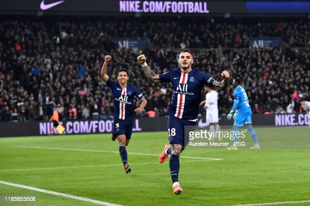 Mauro Icardi of Paris Saint-Germain reacts after scoring during the Ligue 1 match between Paris Saint-Germain and Olympique Marseille at Parc des...