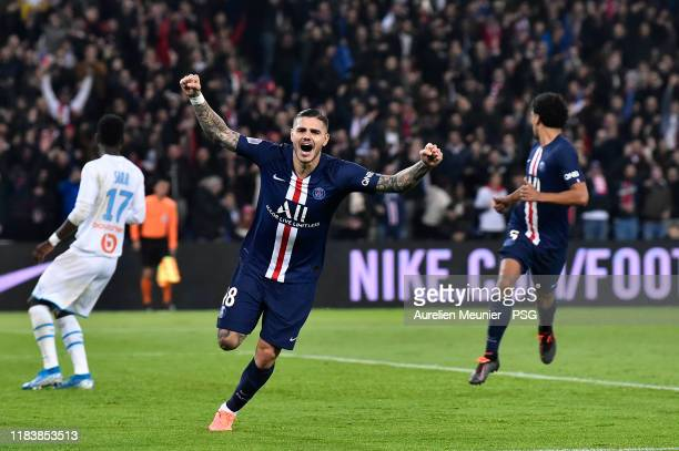 Mauro Icardi of Paris SaintGermain reacts after scoring during the Ligue 1 match between Paris SaintGermain and Olympique Marseille at Parc des...
