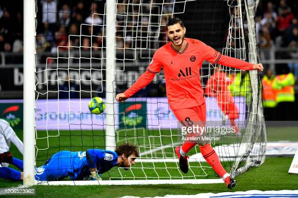 Mauro Icardi of Paris SaintGermain reacts after scoring during the Ligue 1 match between Amiens and Paris at Stade de la Licorne on February 15 2020...