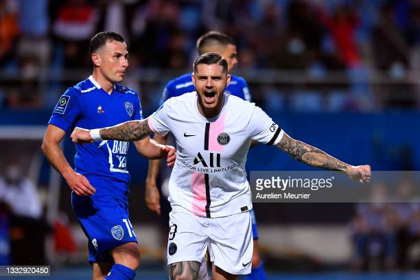 Mauro Icardi of Paris Saint-Germain reacts after scoring during the Ligue 1 football match between Troyes and Paris at Stade de l'Aube on August 07,...