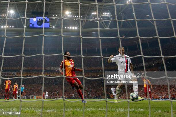 Mauro Icardi of Paris SaintGermain scores his sides first goal during the UEFA Champions League group A match between Galatasaray and Paris...