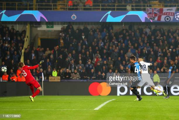Mauro Icardi of Paris SaintGermain scores his team's first goal during the UEFA Champions League group A match between Club Brugge KV and Paris...