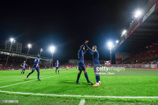 Mauro ICARDI of PSG and Eric Maxim CHOUPO MOTING of PSG celebrate a goal during the Ligue 1 match between Brest and Paris Saint Germain at Stade...