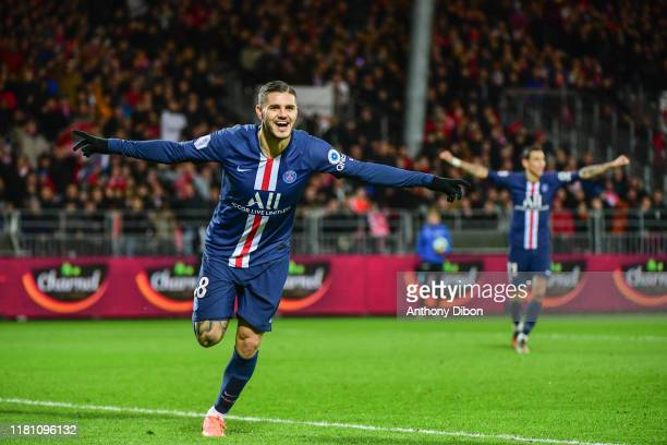 Mauro ICARDI of PSG celebrates a goal during the Ligue 1 match between Brest and Paris Saint Germain at Stade FrancisLe Ble on November 9 2019 in...