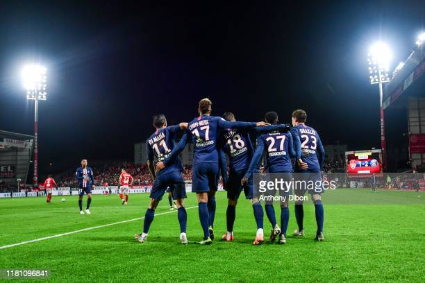 Mauro ICARDI of PSG celebrates his goal with his team mates during the Ligue 1 match between Brest and Paris Saint Germain at Stade FrancisLe Ble on...