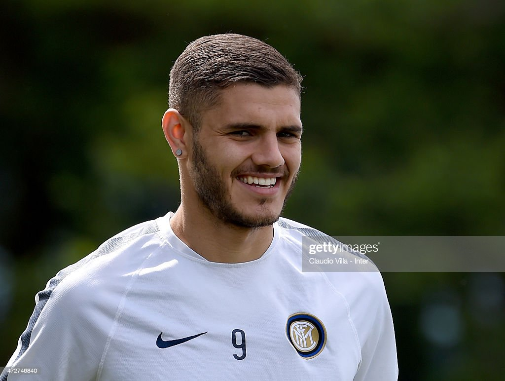 Mauro Icardi smiles during FC Internazionale training session at the club's training ground at Appiano Gentile on May 09, 2015 in Como, Italy.