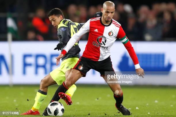 Mauro Jaqueson Junior Ferreira dos Santos of PSV Karim El Ahmadi of Feyenoord during the Dutch KNVB Beker match between Feyenoord v PSV at the...