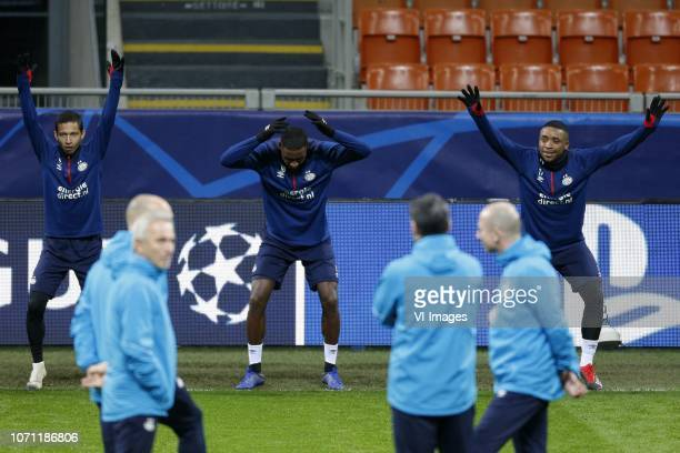Mauro Junior of PSV Pablo Rosario of PSV Steven Bergwijn of PSV during a training session prior to the UEFA Champions League group B match between...