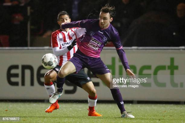 Mauro Junior of PSV U23 Rick van der Meer of FC Utrecht U23 during the Dutch Jupiler League match between PSV U23 v Utrecht U23 at the De Herdgang on...