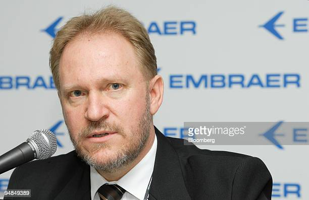Mauro Kern executive vice president of airline markets at Empresa Brasileira de Aeronautica SA also known as Embraer speaks at a news conference...