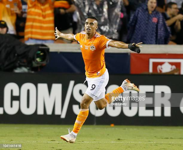 Mauro Manotas of Houston Dynamo celebrates his second goal of the first half against the Philadelphia Union during the 2018 Lamar Hunt US Open Cup...