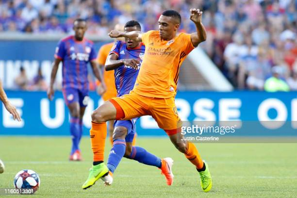 Mauro Manotas of Houston Dynamo controls the ball against FC Cincinnati at Nippert Stadium on July 06 2019 in Cincinnati Ohio