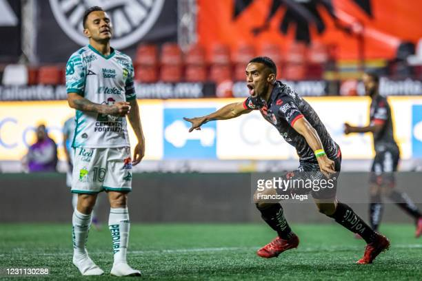Mauro Manotas of Tijuana celebrates after scoring the first goal of his team during the 6th round match between Club Tijuana and Leon as part of the...