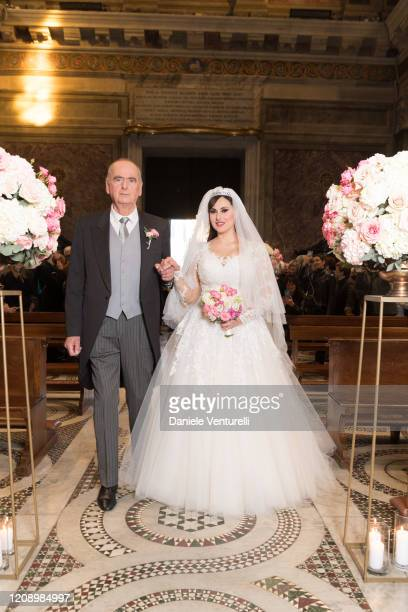Mauro Marchionne and Isabelle Adriani attend the wedding of Earl Vittorio Palazzi Trivelli And Isabelle Adriani on February 22 2020 in Rome Italy