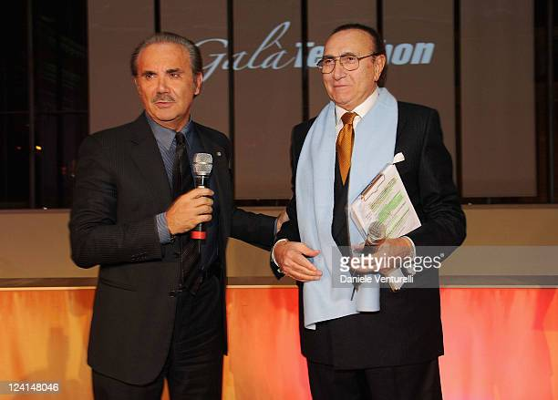 Mauro Masi and Pippo Baudo attend the Gala Telethon during the 5th International Rome Film Festivalat Palazzo delle Esposizioni on October 29 2010 in...