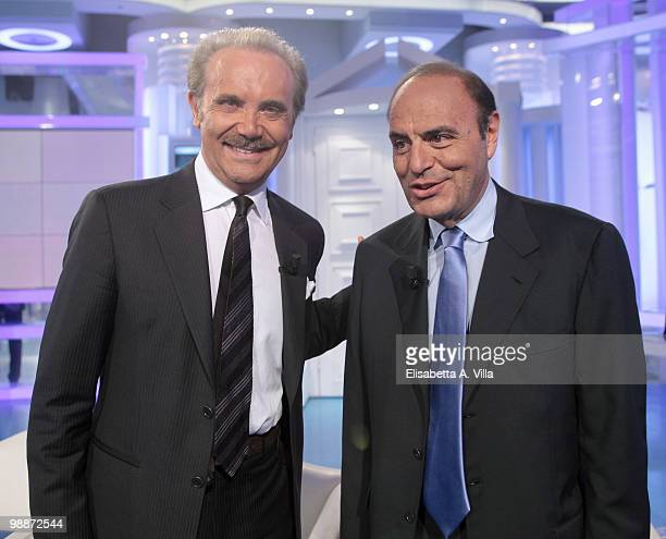 "Mauro Masi, CEO of Italian Television RAI, and Bruno Vespa attend ""Porta A Porta"" on May 5, 2010 in Rome, Italy."