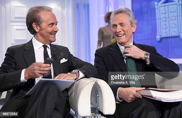 "Mauro Masi, CEO of Italian television RAI and Francesco Rutelli attend the TV show ""Porta A Porta"" on May 5, 2010 in Rome, Italy."
