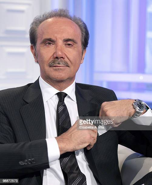 "Mauro Masi, CEO of Italian television RAI attends the TV show ""Porta A Porta"" on May 5, 2010 in Rome, Italy."