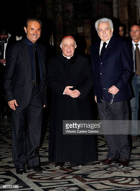 Mauro Masi, Dionigi Tettamanzi, Michele Guardi attend 'I Promessi Sposi' Reading held at the Duomo of Milan on April 29, 2010 in Milan, Italy.